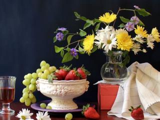 обои для рабочего стола: Натюрморт - Ягодно цветочный