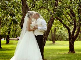 обои Жених и невеста под яблонями фото