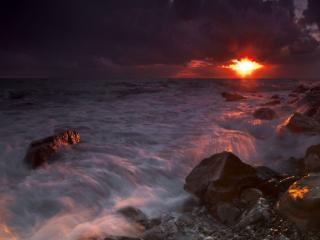 обои Тёмный морской закат фото