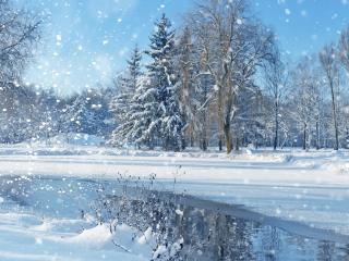 обои Снегопад и зимний ручей фото