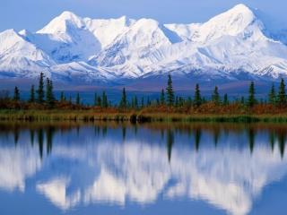 обои Белая гора и ее отражение фото