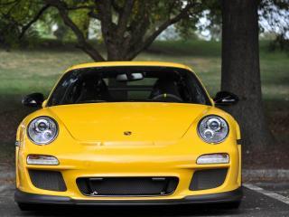 обои Желтый Porsche под деревом фото