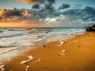 обои Пенный прибой на золотом песке фото