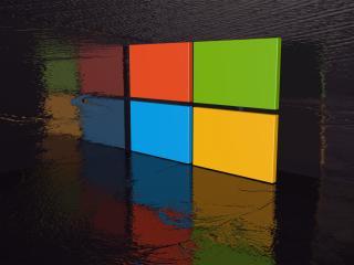 обои Эмблема Windows окруженная водой фото