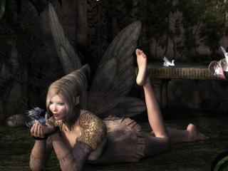 обои Девочка эльф с дракончиком фото