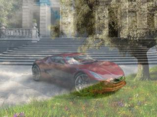 обои Красная бестия - на фоне пейзажа весны фото