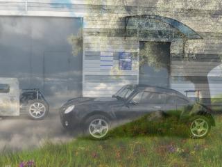 обои Черный мини- - на фоне пейзажа весны фото