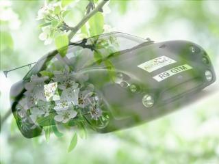 обои Черный спорт кар - на фоне зеленой весны фото