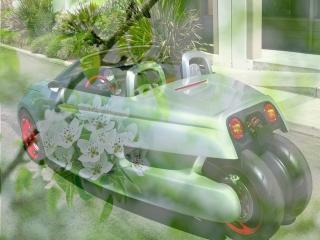 обои Электро машина - на фоне зеленой весны фото