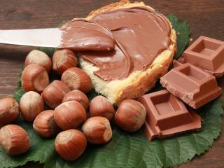 обои Намазанный шоколад и орехи фото