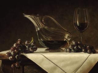 обои Натюрморт - Гроздья винограда и кувшин с вином фото