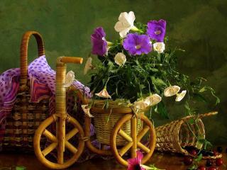 обои для рабочего стола: Натюрморт - Плетеные изделия цветы и ягоды