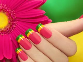 обои Маникюр - Цветочный контраст  фото