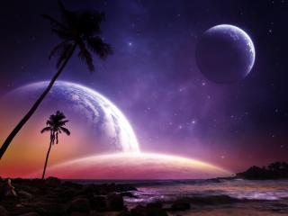 обои Космическая ночная панорама фото