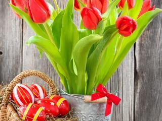 обои Букет тюльпанов и крашенные яйца фото
