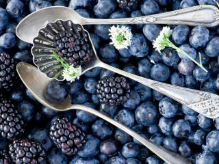 обои Три ложки и синие ягоды фото