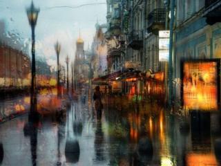 обои Весенний дождь в городе фото