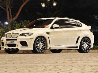 обои Белый BMW X6 Hamman ночью фото