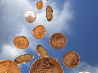 обои Дождь золотых монет фото