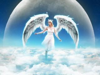 обои для рабочего стола: Белый ангел над облаками