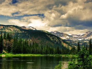 обои Спокойная река еловых гор фото