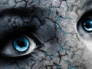 обои Голубые глаза на потрескавшемся лице фото