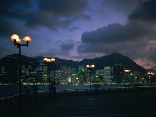 обои Фонари ночного города фото