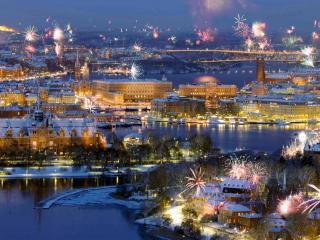 обои Салют над Стокгольмом фото
