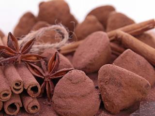 обои Шоколад и корица посыпанные какао фото