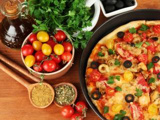 обои Пицца с помидорами черри фото