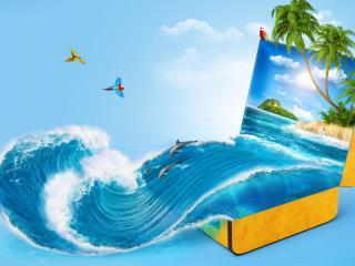 обои Тропическая волна из чемодана фото