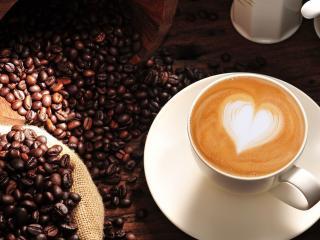 обои Зерна кофе и чашка капучино фото