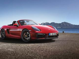обои Красный Porsche GT5 у залива фото