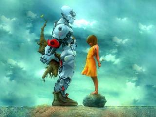 обои Дружба девочки и робота фото