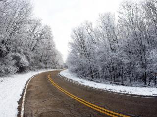 обои Чистая зимняя извилистая дорога фото