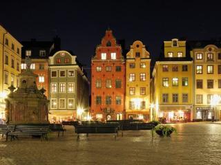 обои Площадь ночного Стокгольма фото