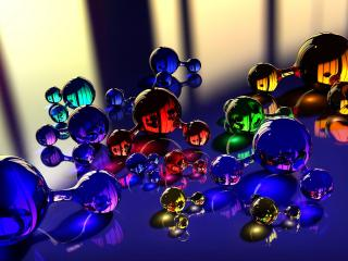 обои Стеклянные фигуры молекул фото