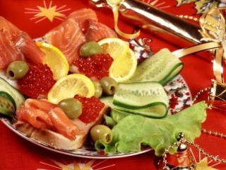 обои Блюдо с икрой и красной рыбой фото