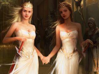 обои Белокурые сестры принцессы фото