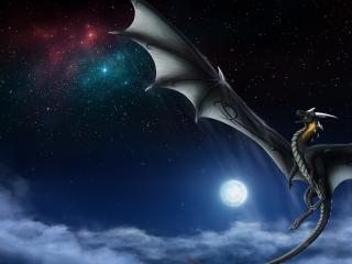 обои для рабочего стола: Полет дракона в ночном небе