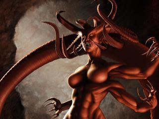 обои Злобный монстр с рогами и четырьмя руками фото