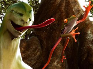 обои для рабочего стола: Зеленый монстр охотится за лягушкой