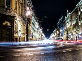 обои Улица ночного Санкт-Петербурга фото