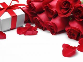 обои Букет красных роз и подарок фото