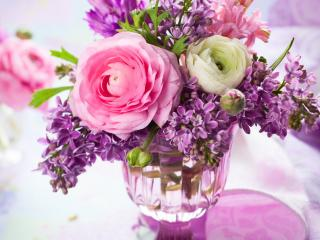 обои Букетик из роз и сирени фото