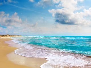 обои Голубой прибой на золотом песке фото