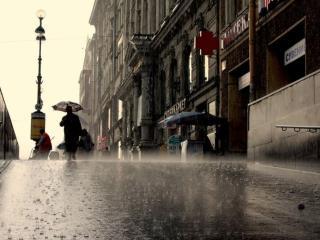 обои Дождь,   фонарь,   аптека фото