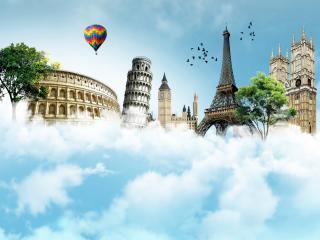 обои Всемирные башни над облаками фото