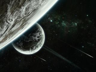 обои Восход планеты в черном небе фото