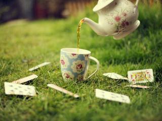 обои Чай на траве с картами фото